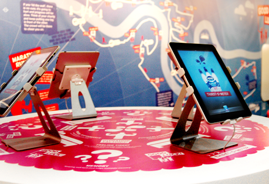Interactive table at the Nestlé Pure Life stand at the Virgin London Marathon
