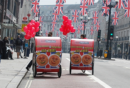 Pizza Hut Roal Wedding Rickshaws on Regent Street